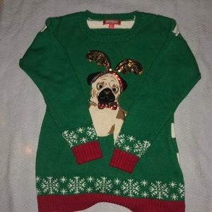 """Ugly"" christmas sweater sequin pug"